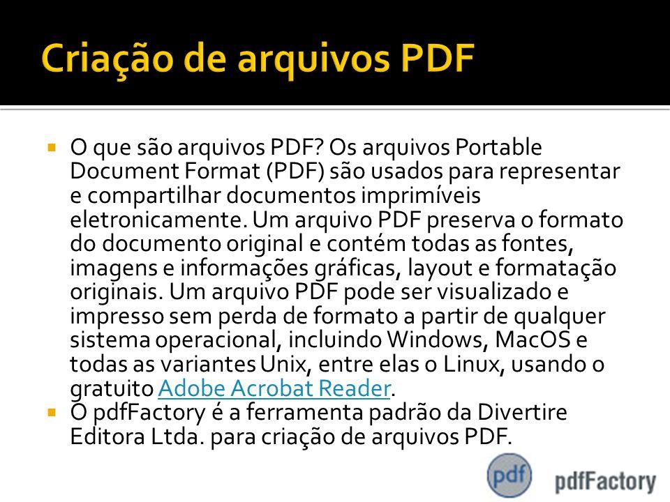 Criação de arquivos PDF