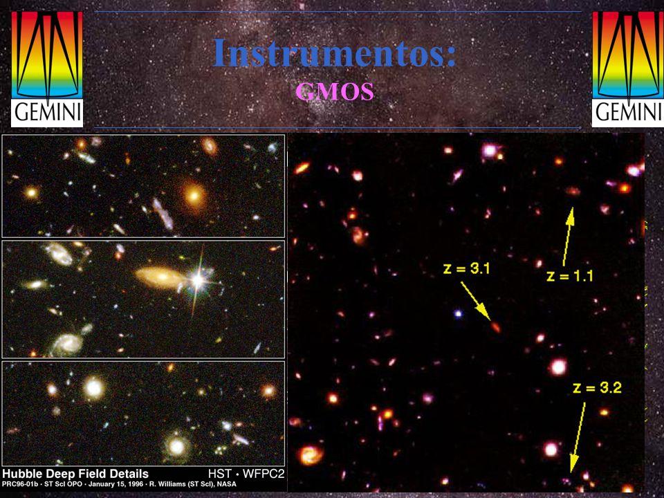 Instrumentos: GMOS Custo: 8 M$ Espectrógrafo multi-objeto