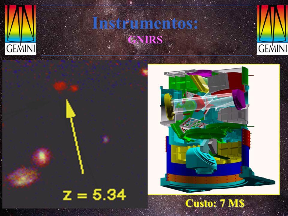 Instrumentos: GNIRS Espectrógrafo e polarímetro multi-objeto no I.V. próximo. Faixa espectral: 0.9-5.5 µm.