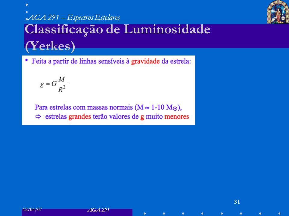 Classificação de Luminosidade (Yerkes)