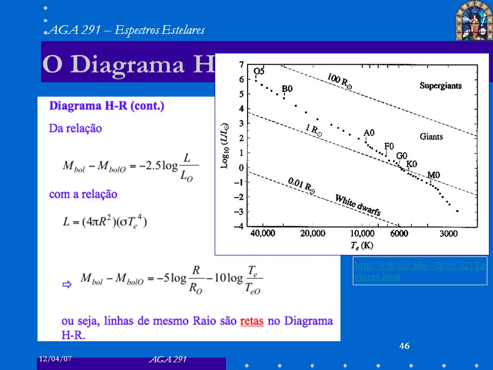 O Diagrama H-R http://web.njit.edu/~dgary/321/Lecture6.html 46