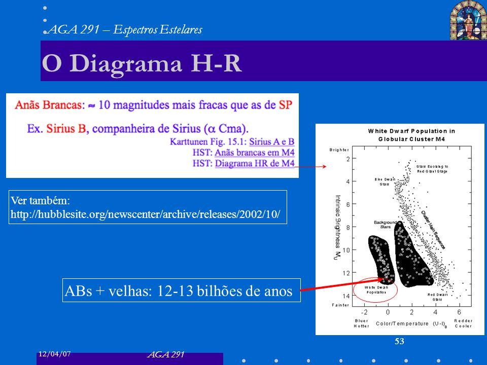 O Diagrama H-R ABs + velhas: 12-13 bilhões de anos Ver também: