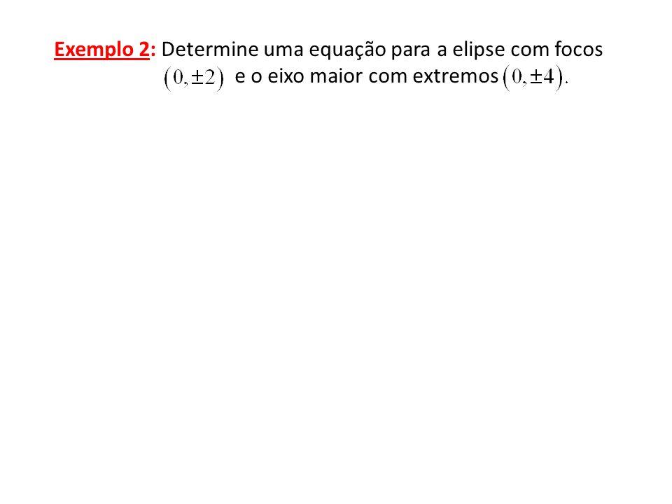 Exemplo 2: Determine uma equação para a elipse com focos