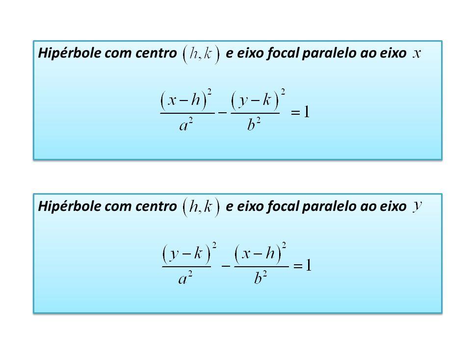 Hipérbole com centro e eixo focal paralelo ao eixo
