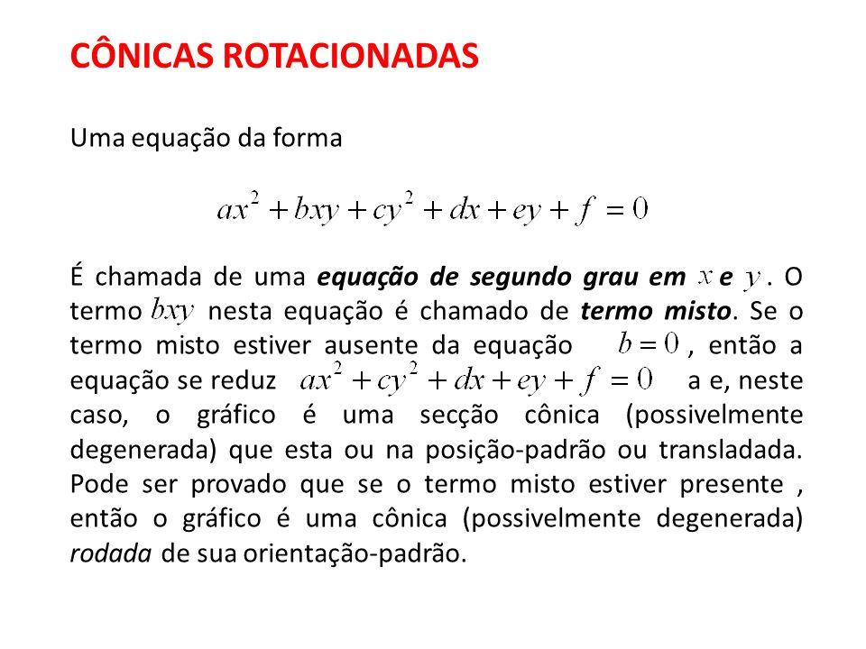 CÔNICAS ROTACIONADAS Uma equação da forma