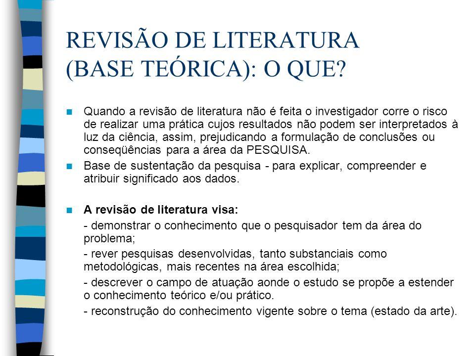 REVISÃO DE LITERATURA (BASE TEÓRICA): O QUE