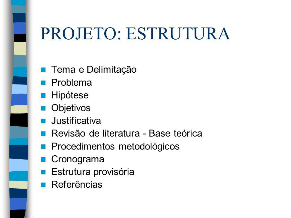 PROJETO: ESTRUTURA Tema e Delimitação Problema Hipótese Objetivos