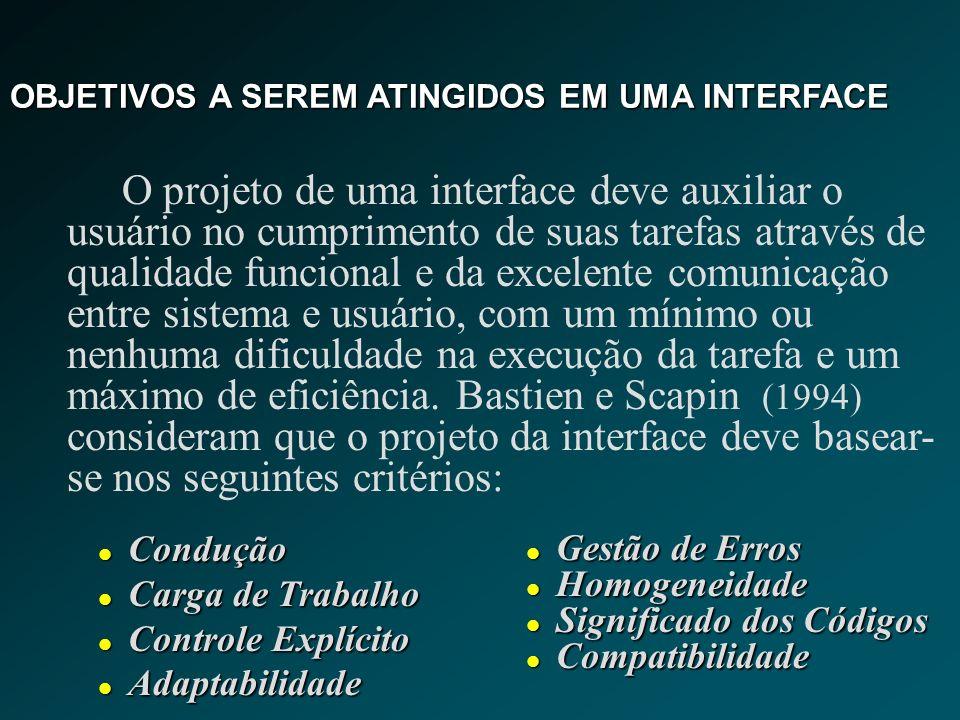 OBJETIVOS A SEREM ATINGIDOS EM UMA INTERFACE