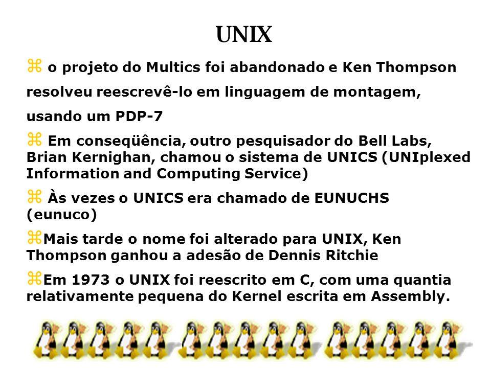 UNIX o projeto do Multics foi abandonado e Ken Thompson