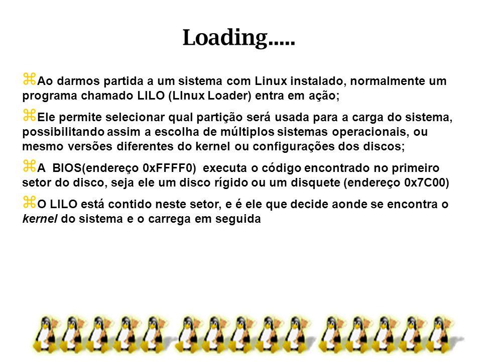 Loading..... Ao darmos partida a um sistema com Linux instalado, normalmente um programa chamado LILO (LInux Loader) entra em ação;
