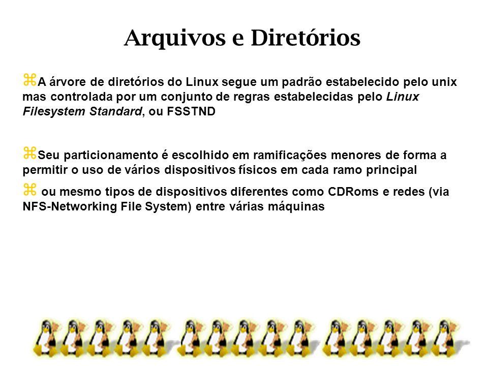 Arquivos e Diretórios A árvore de diretórios do Linux segue um padrão estabelecido pelo unix.