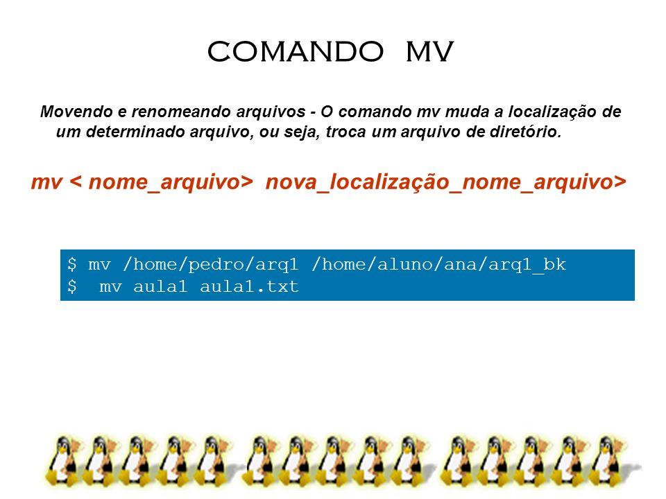 COMANDO MV mv < nome_arquivo> nova_localização_nome_arquivo>