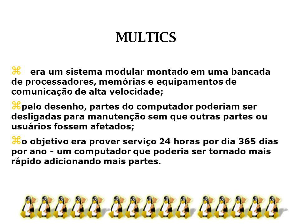 MULTICS era um sistema modular montado em uma bancada de processadores, memórias e equipamentos de comunicação de alta velocidade;