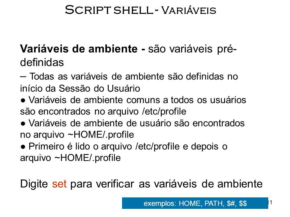 Script shell - Variáveis