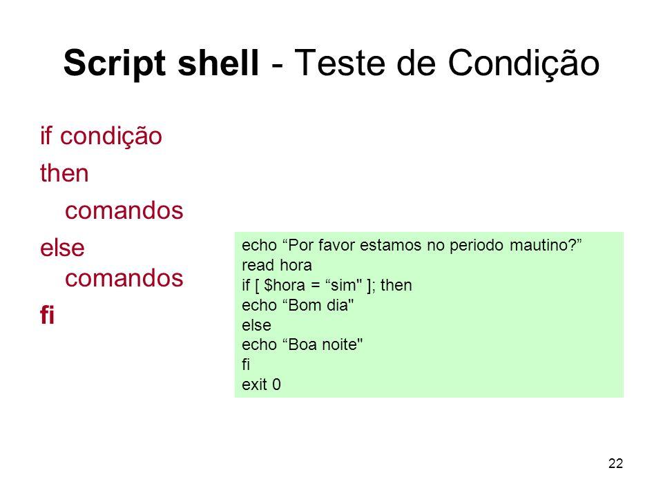 Script shell - Teste de Condição