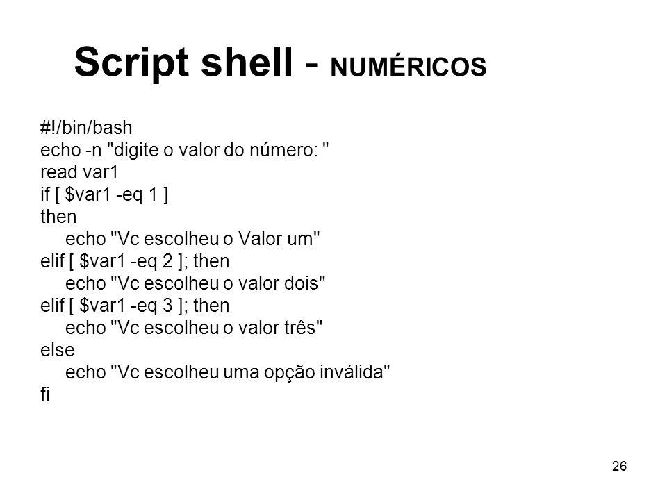 Script shell - NUMÉRICOS