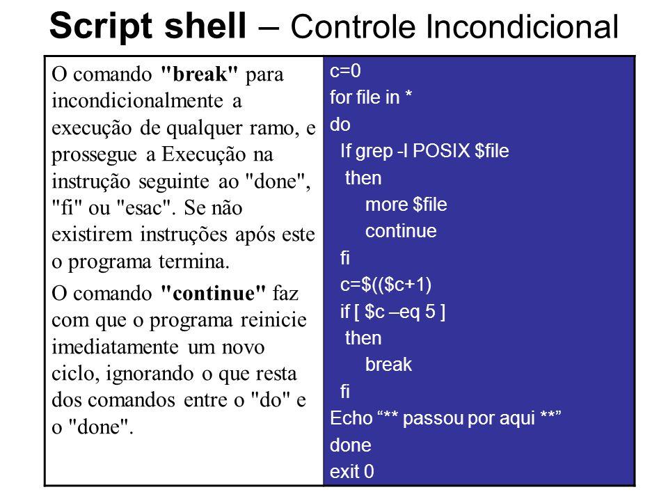 Script shell – Controle Incondicional