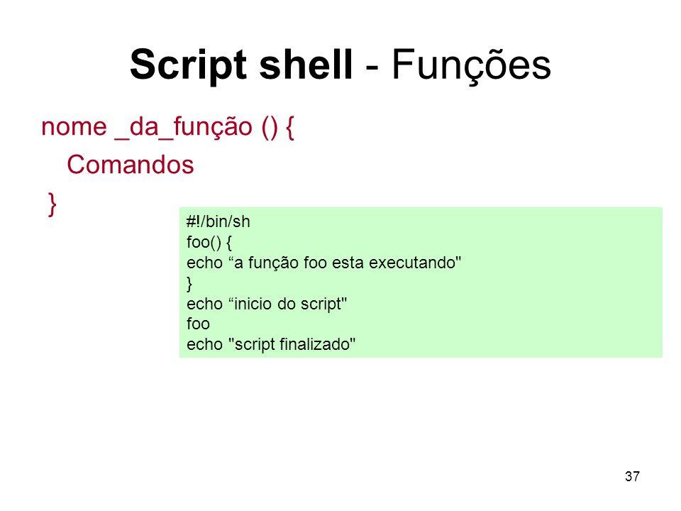 Script shell - Funções nome _da_função () { Comandos } #!/bin/sh