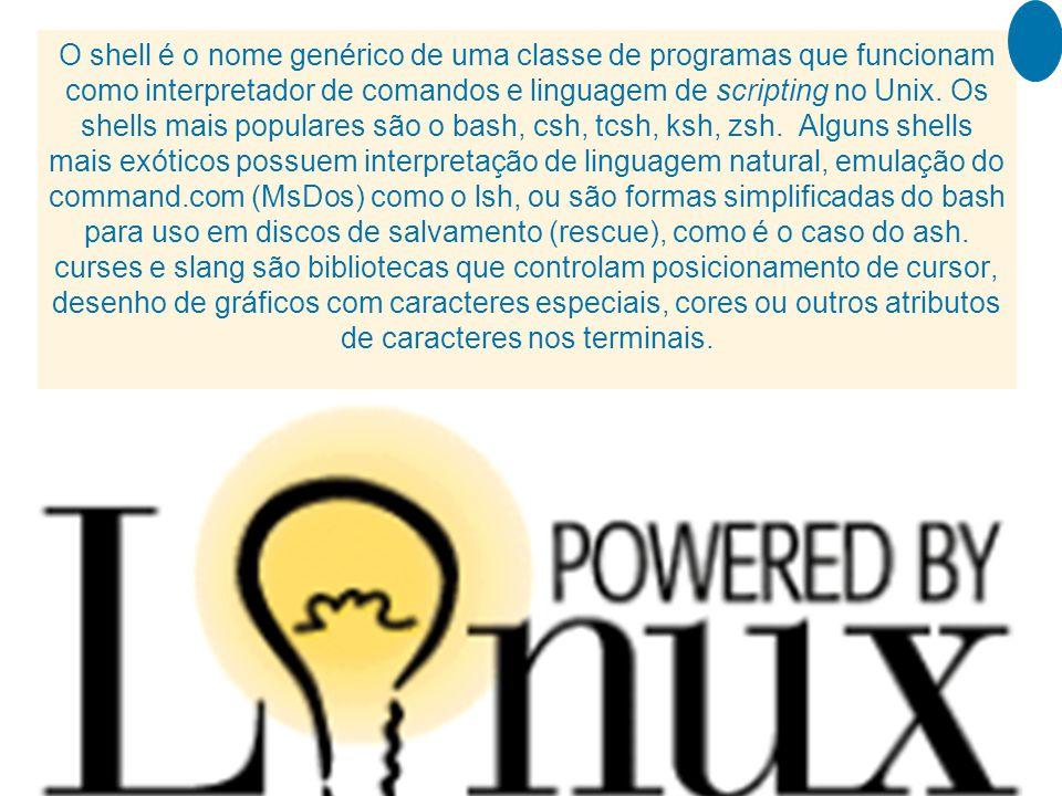 O shell é o nome genérico de uma classe de programas que funcionam como interpretador de comandos e linguagem de scripting no Unix.