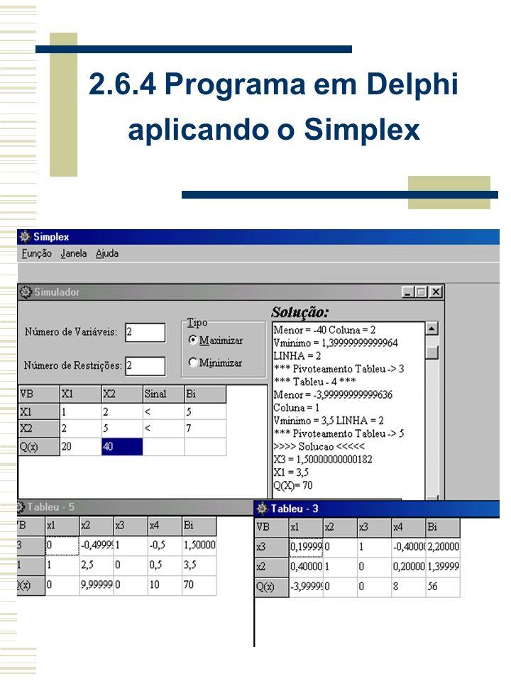 2.6.4 Programa em Delphi aplicando o Simplex
