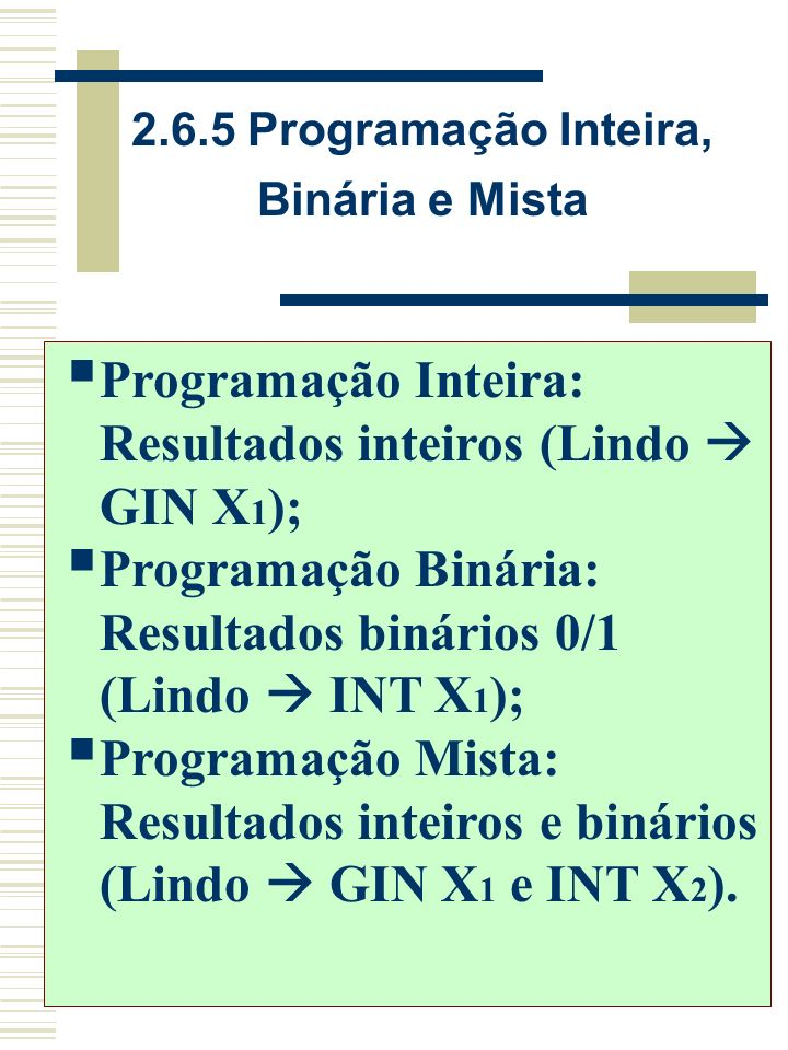 2.6.5 Programação Inteira, Binária e Mista