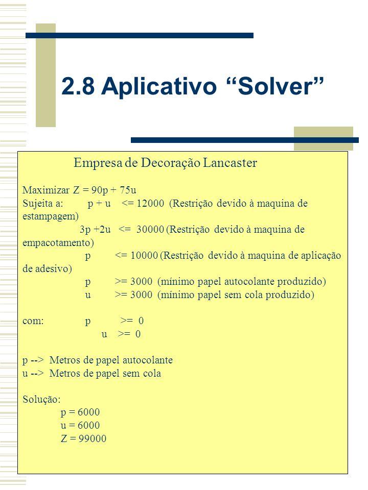 2.8 Aplicativo Solver Empresa de Decoração Lancaster
