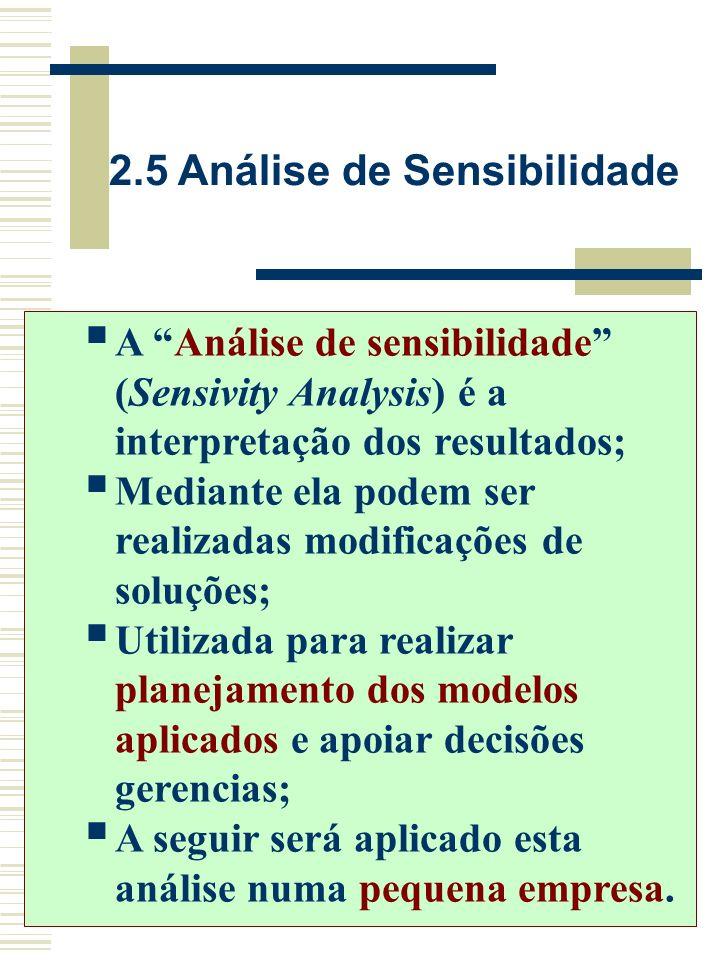 2.5 Análise de Sensibilidade