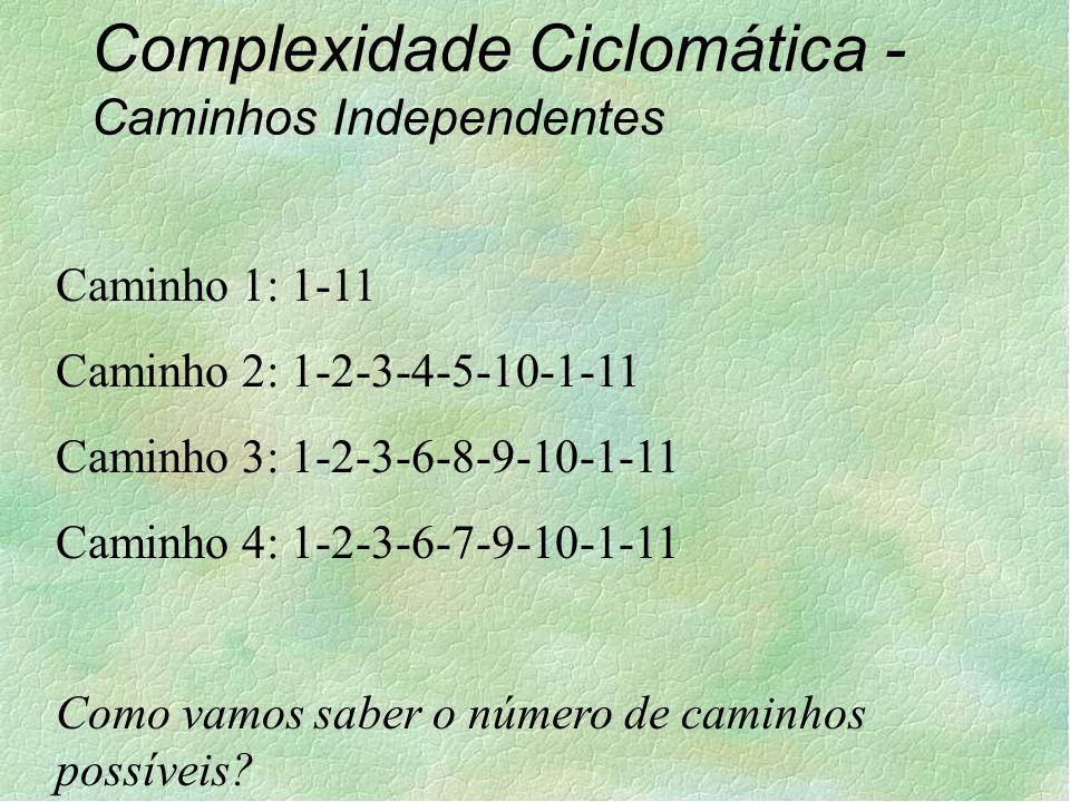 Complexidade Ciclomática - Caminhos Independentes