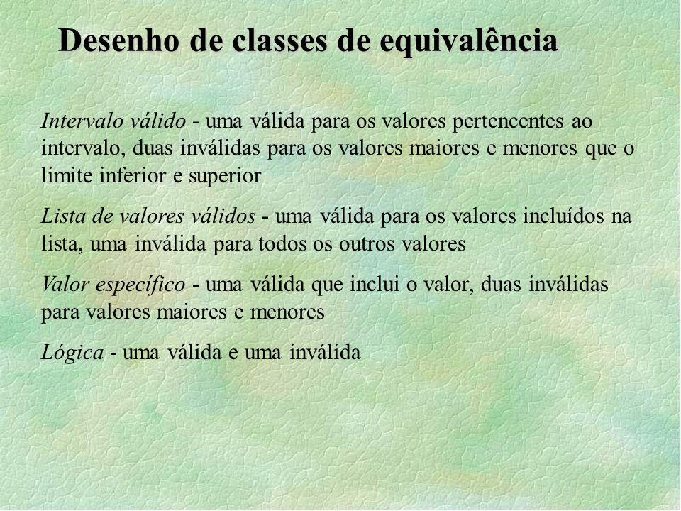 Desenho de classes de equivalência