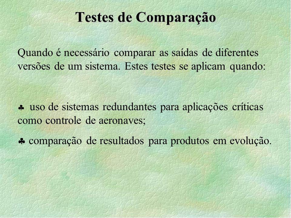 Testes de Comparação Quando é necessário comparar as saídas de diferentes versões de um sistema. Estes testes se aplicam quando: