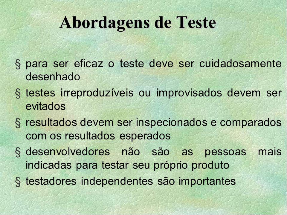 Abordagens de Teste para ser eficaz o teste deve ser cuidadosamente desenhado. testes irreproduzíveis ou improvisados devem ser evitados.