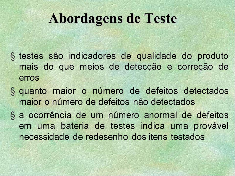 Abordagens de Teste testes são indicadores de qualidade do produto mais do que meios de detecção e correção de erros.