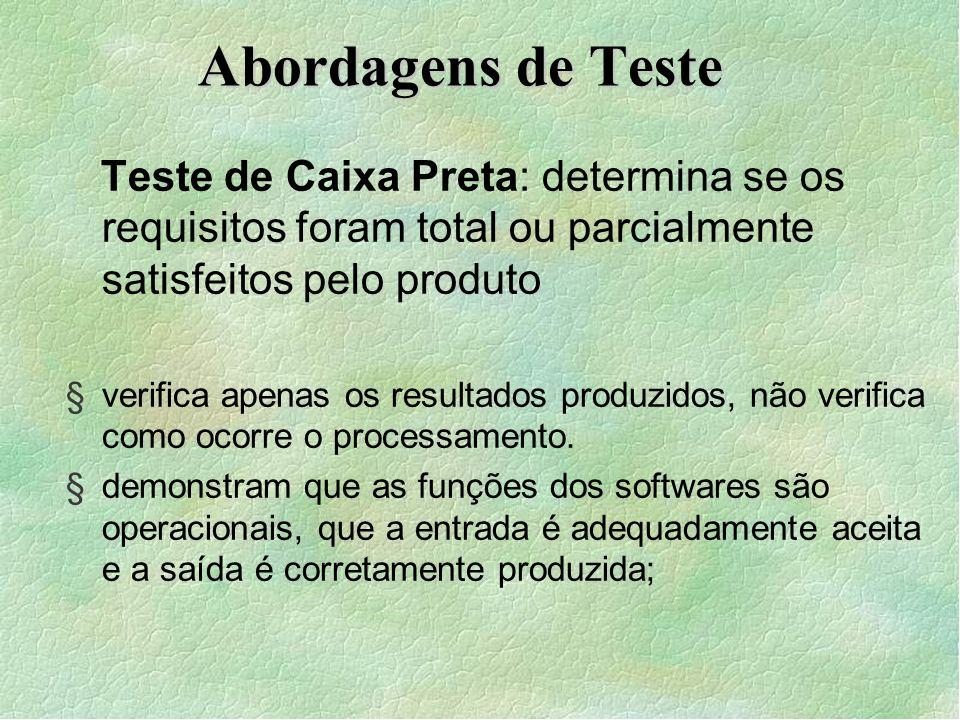 Abordagens de Teste Teste de Caixa Preta: determina se os requisitos foram total ou parcialmente satisfeitos pelo produto.