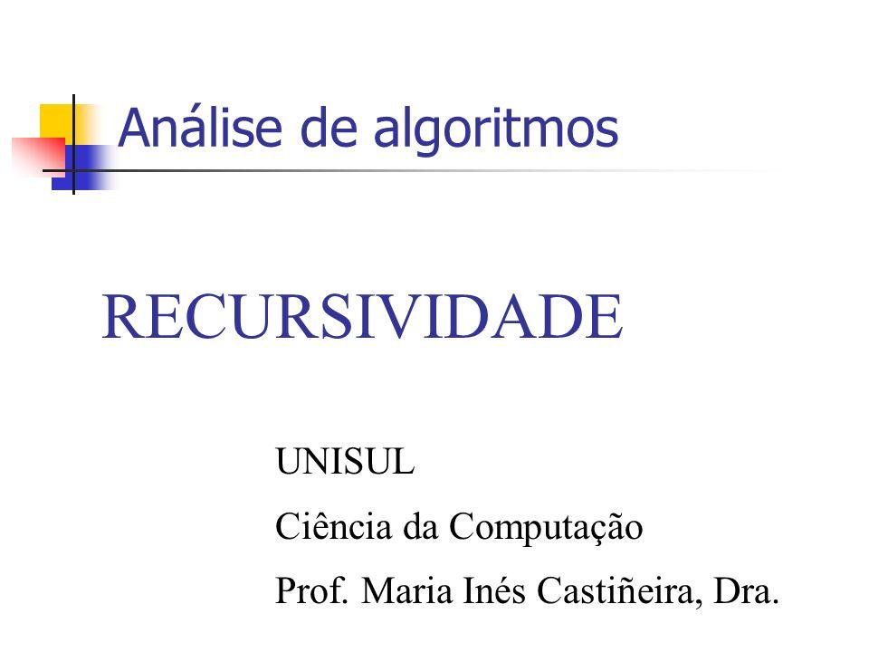 RECURSIVIDADE Análise de algoritmos UNISUL Ciência da Computação