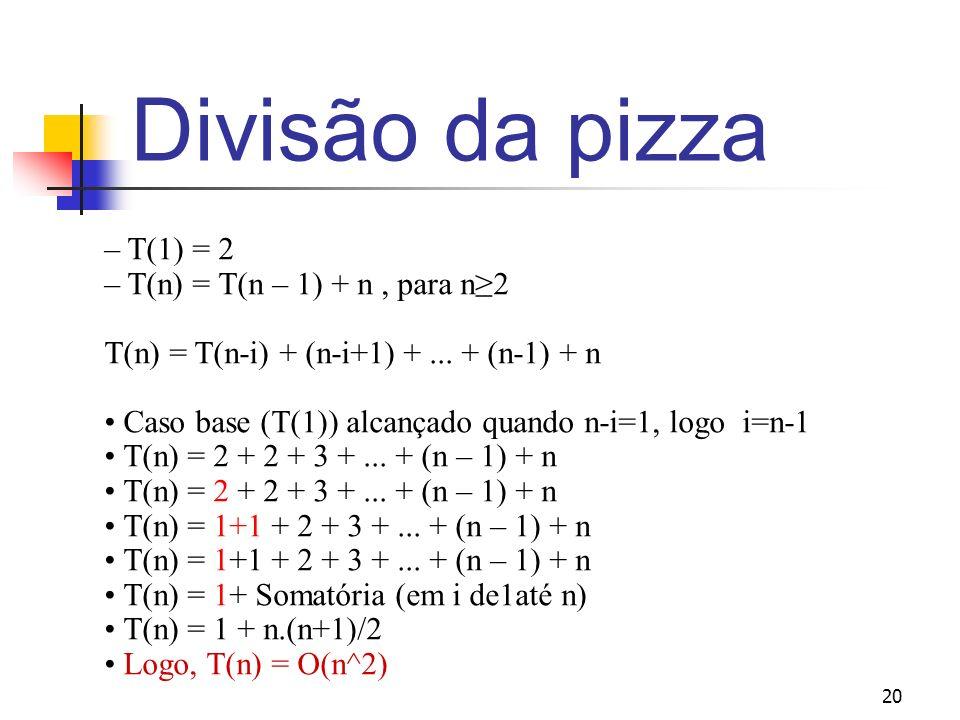 Divisão da pizza – T(1) = 2 – T(n) = T(n – 1) + n , para n≥2