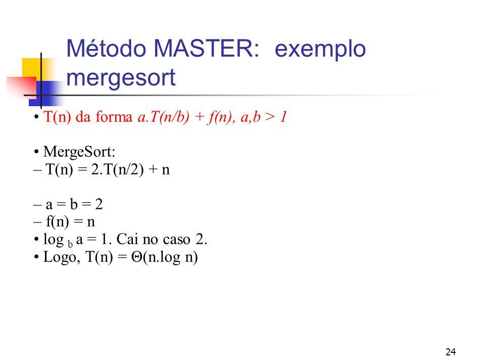 Método MASTER: exemplo mergesort