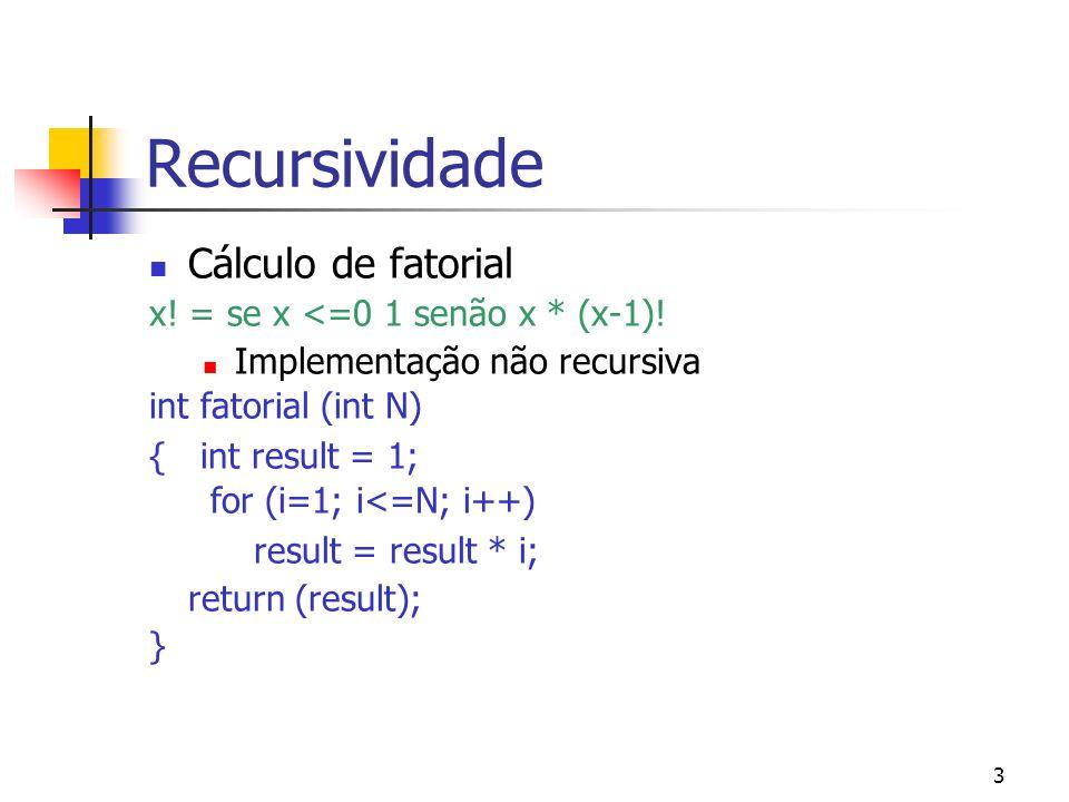 Recursividade Cálculo de fatorial x! = se x <=0 1 senão x * (x-1)!