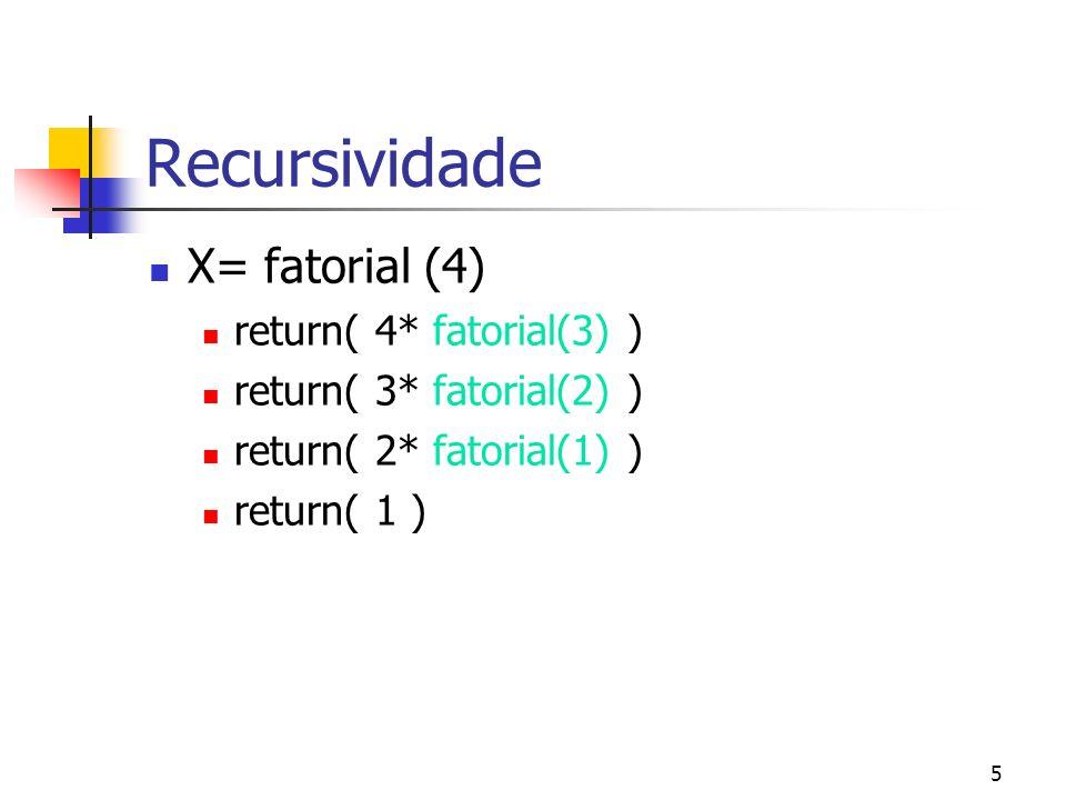 Recursividade X= fatorial (4) return( 4* fatorial(3) )
