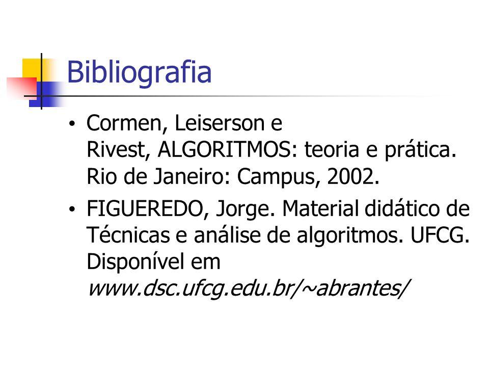 Bibliografia Cormen, Leiserson e Rivest, ALGORITMOS: teoria e prática. Rio de Janeiro: Campus, 2002.