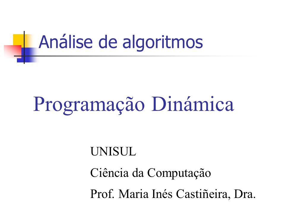 Programação Dinámica Análise de algoritmos UNISUL