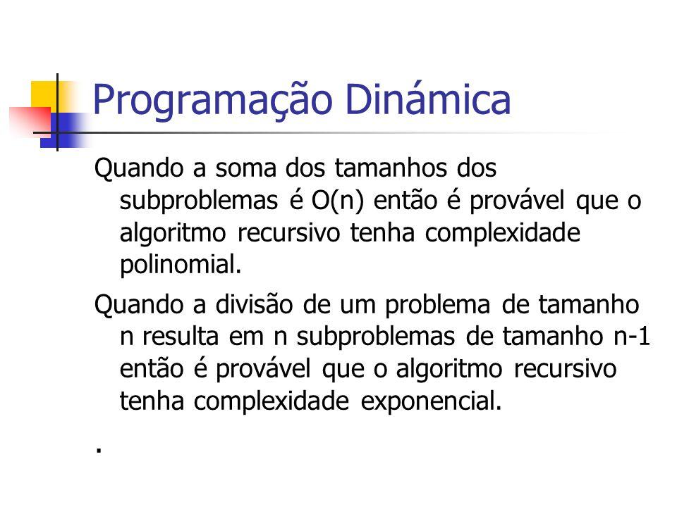 Programação Dinámica Quando a soma dos tamanhos dos subproblemas é O(n) então é provável que o algoritmo recursivo tenha complexidade polinomial.