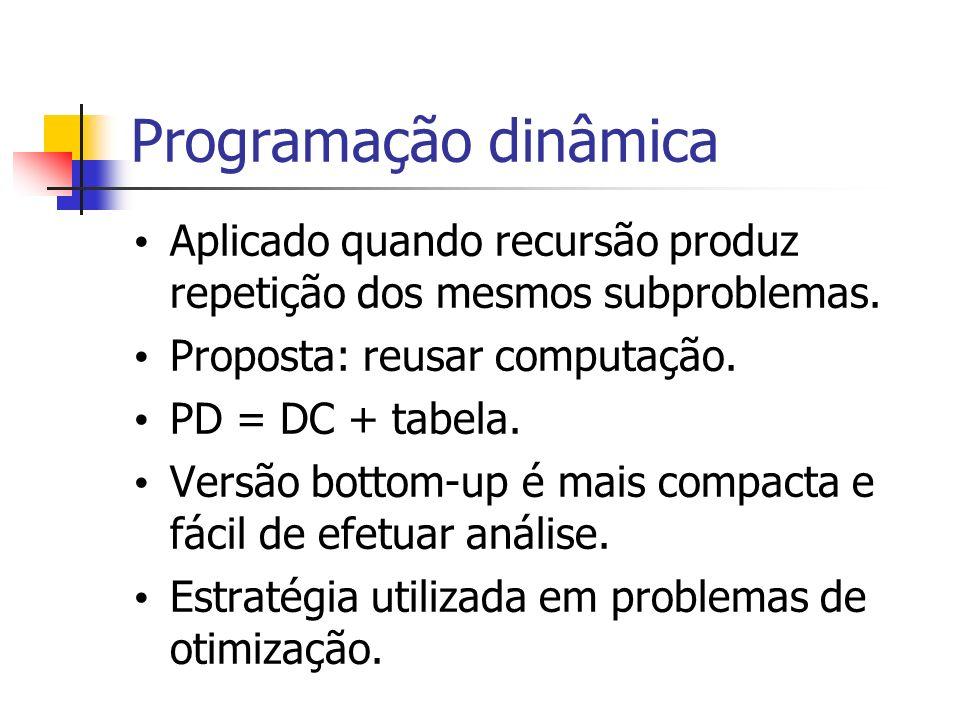 Programação dinâmica Aplicado quando recursão produz repetição dos mesmos subproblemas. Proposta: reusar computação.