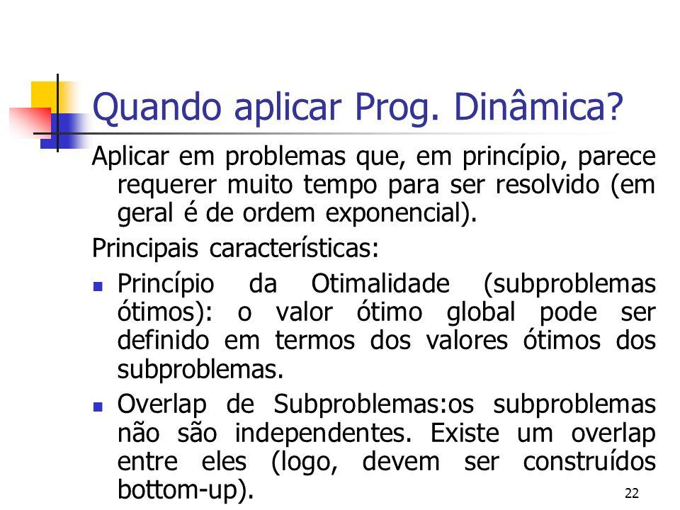 Quando aplicar Prog. Dinâmica