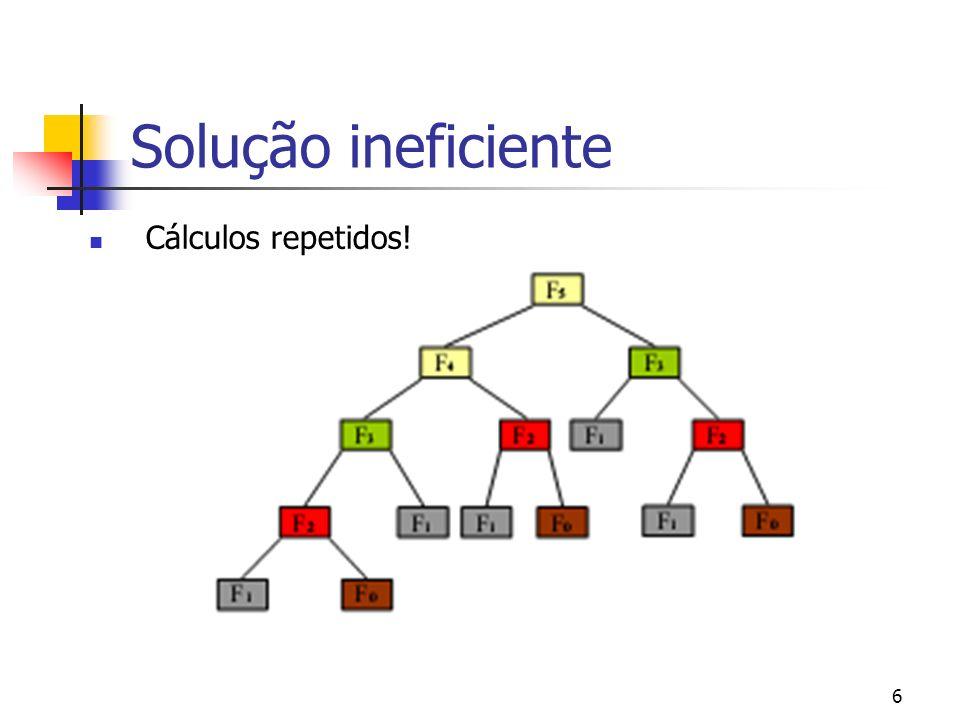 Solução ineficiente Cálculos repetidos!