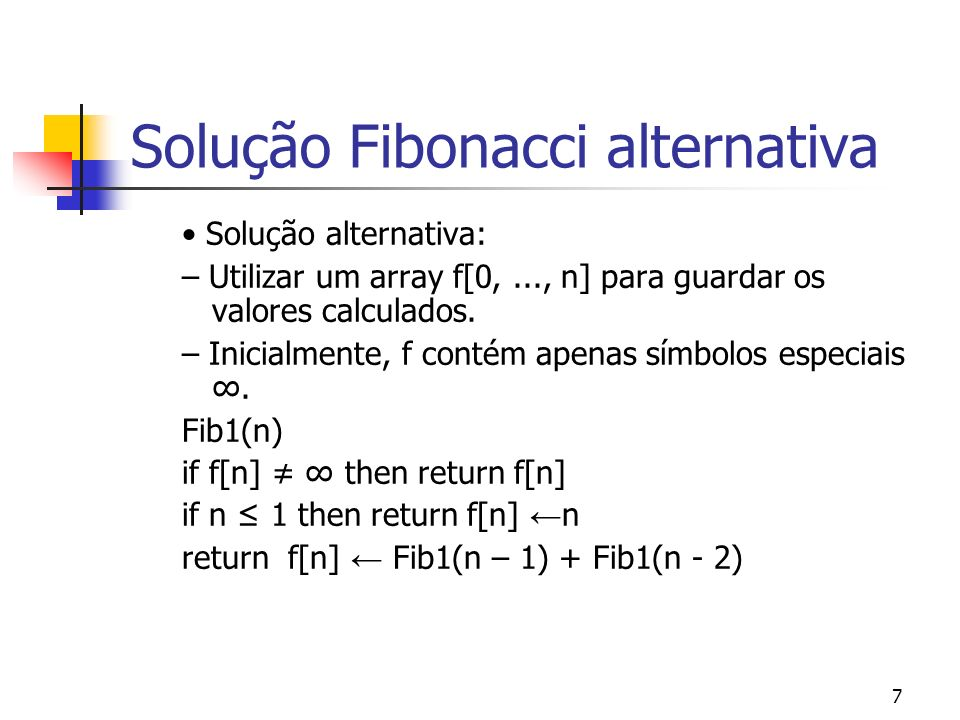 Solução Fibonacci alternativa