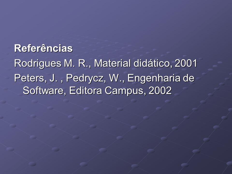 Referências Rodrigues M. R., Material didático, 2001.