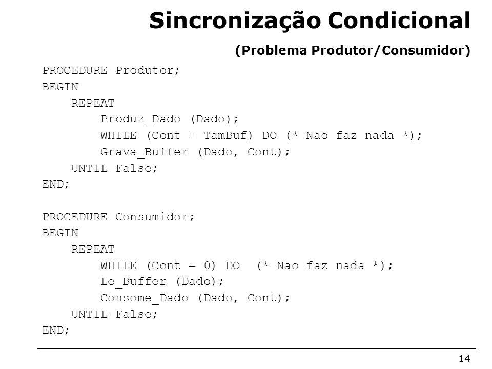 Sincronização Condicional (Problema Produtor/Consumidor)