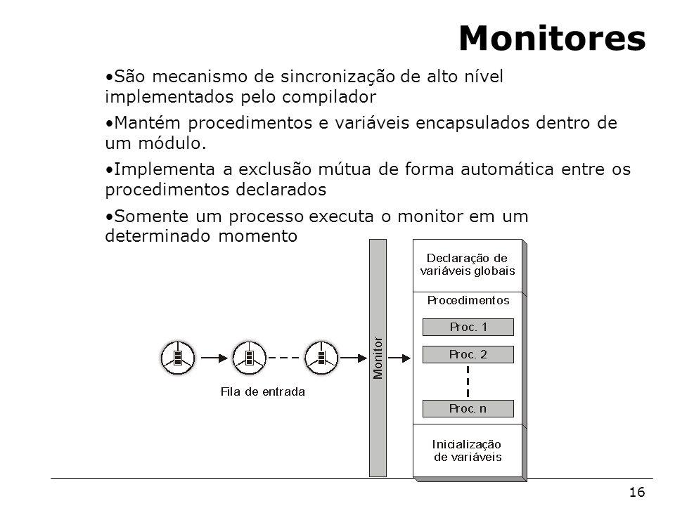 Monitores São mecanismo de sincronização de alto nível implementados pelo compilador.