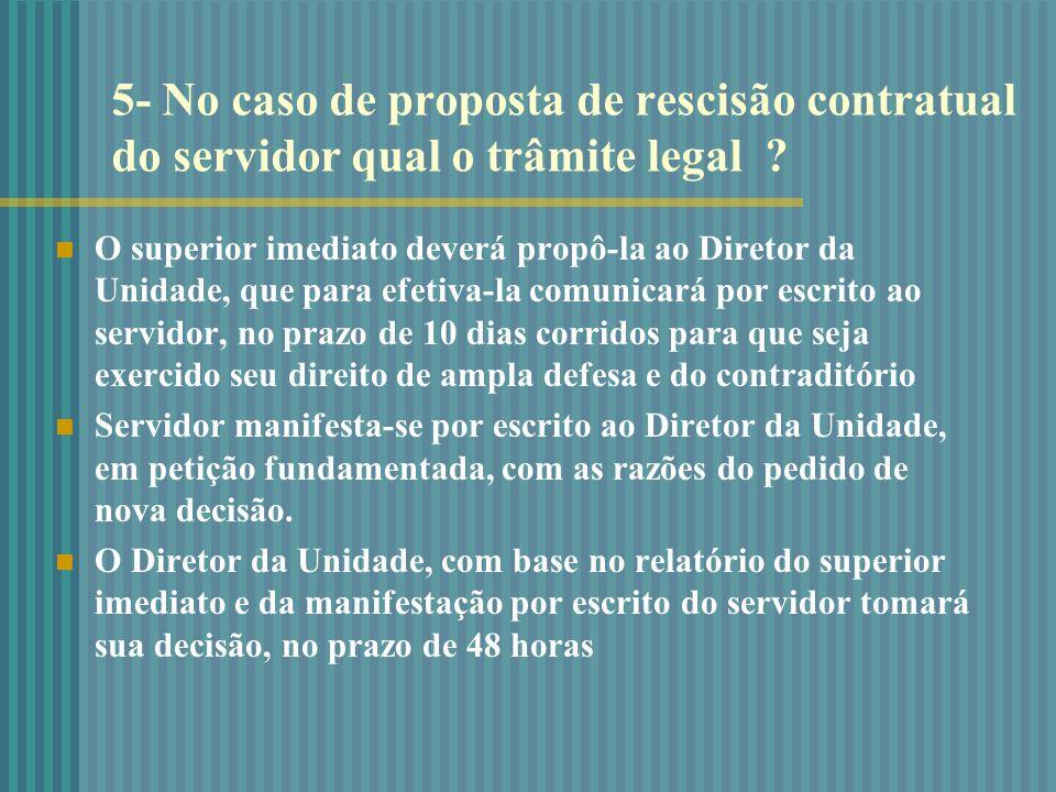 5- No caso de proposta de rescisão contratual do servidor qual o trâmite legal