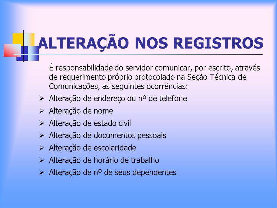 ALTERAÇÃO NOS REGISTROS